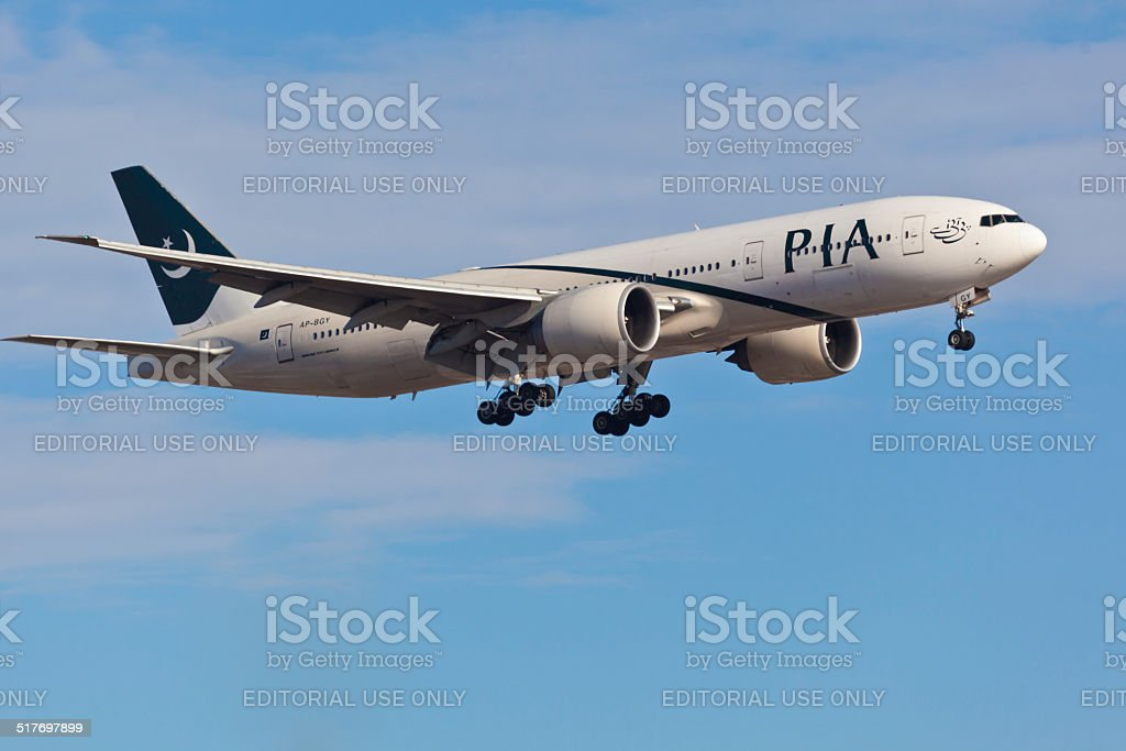 Boeing 767 Pakistan International Airlines takes off from JFK Airport stock photo