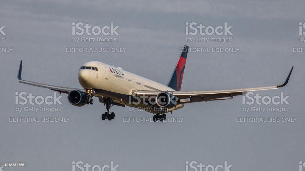 Boeing 767300 Delta Air Lines Lands At Zurich Airport Stock Photo
