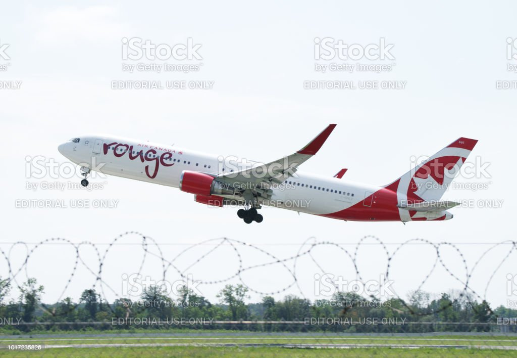 Boeing 767-333(ER) - Air Canada Rouge reg. C-GHLV stock photo