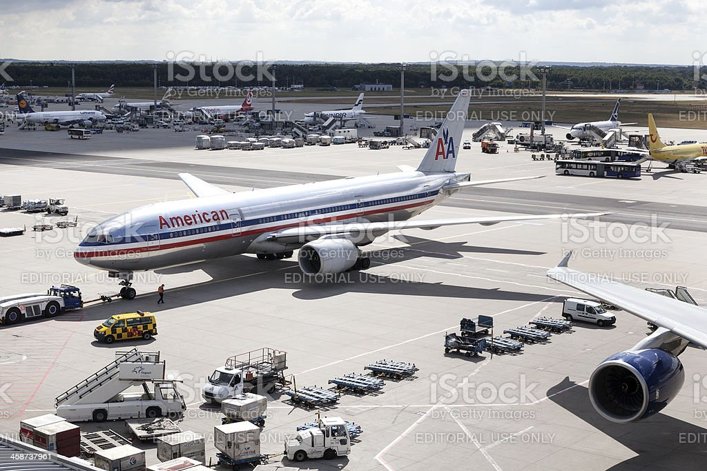 Boeing 777 American Airlines stock photo