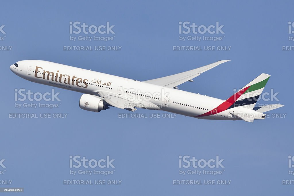 Boeing 777 Emirates arriving at JFK Airport stock photo