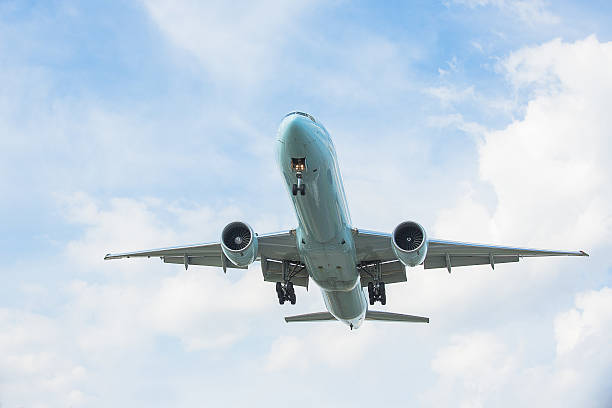Boeing 777 flying stock photo