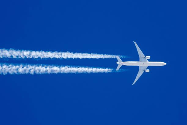 Boeing 777 in flight. stock photo