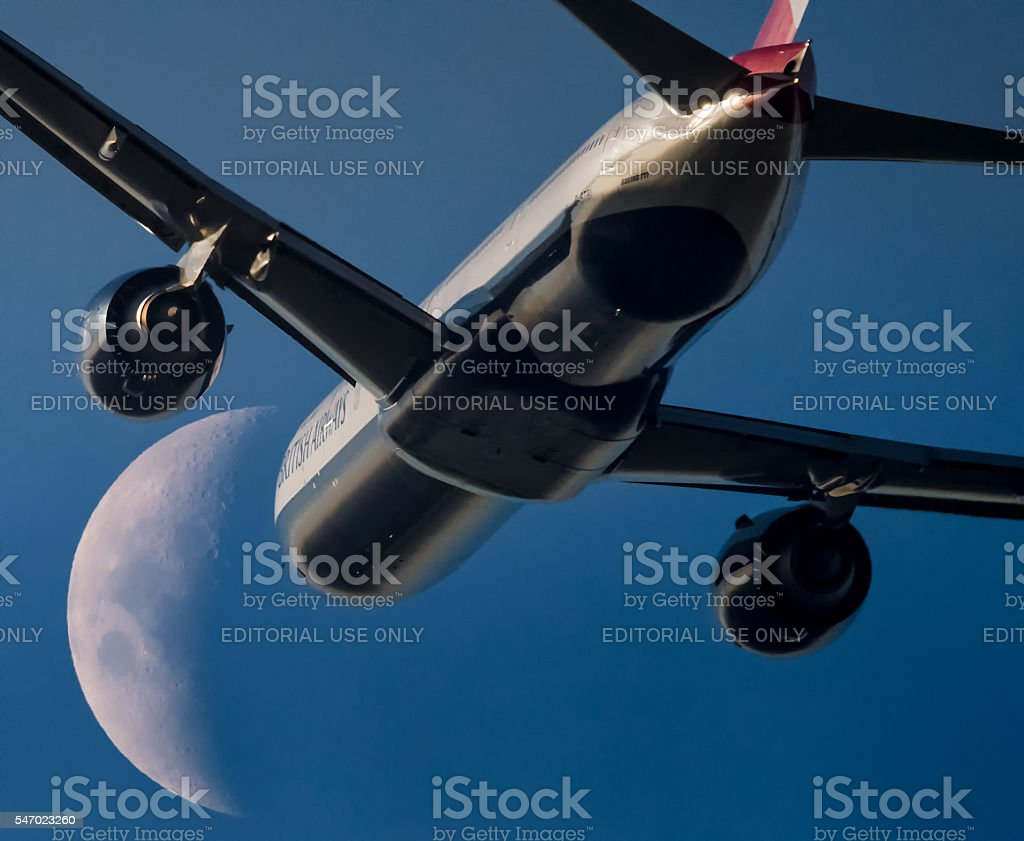 Boeing 777 moon stock photo