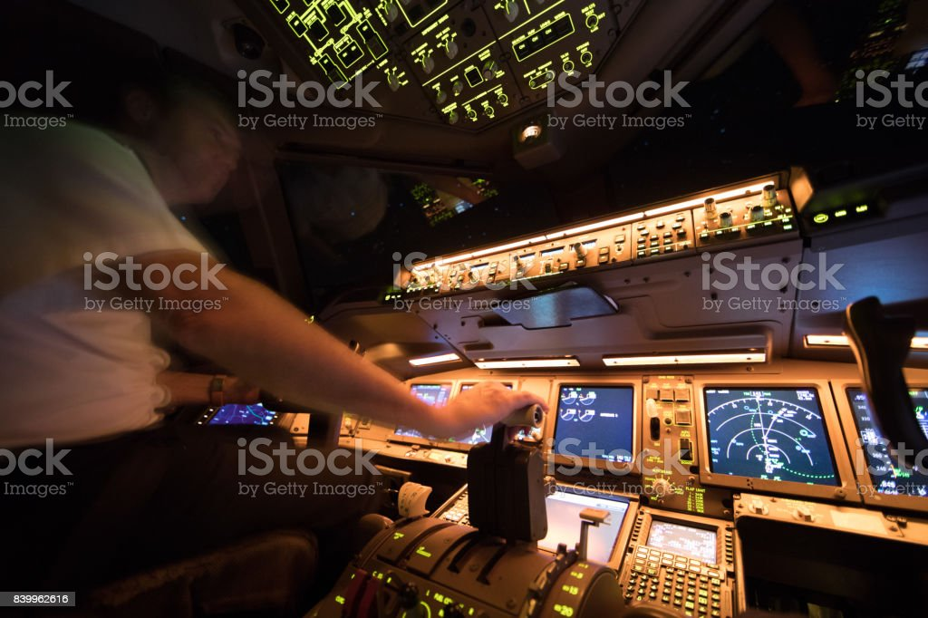 Boeing 777 Night Flight over Europe stock photo
