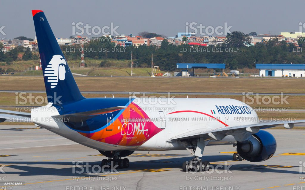 Boeing 777-200 of Aeromexico at GRU Airport - Guarulhos International Airport, Sao Paulo, Brazil - 2016 stock photo