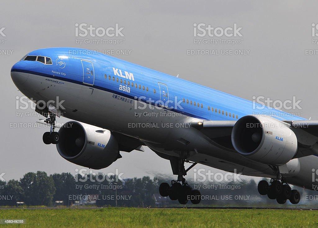 KLM Boeing 777-200 take off royalty-free stock photo