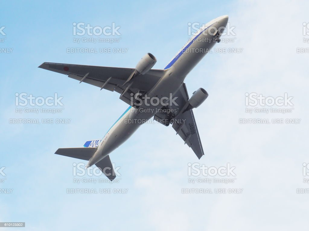 ANA  JA8198 Boeing 777-281, Airplane Is About To Land stock photo