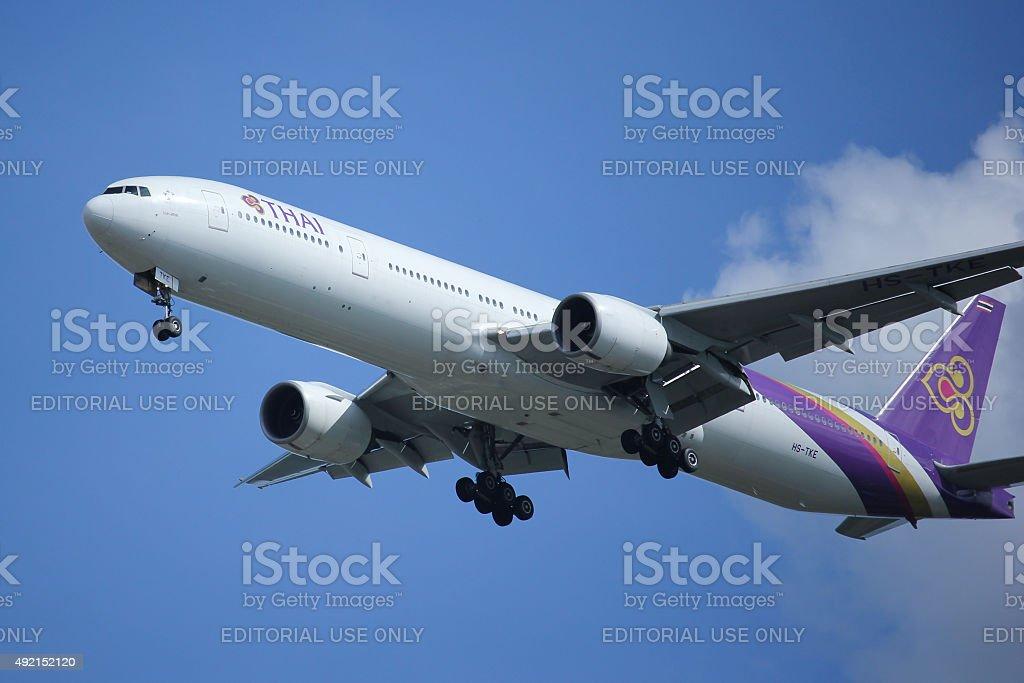 Boeing 777-300 HS-TKE of Thaiairway stock photo