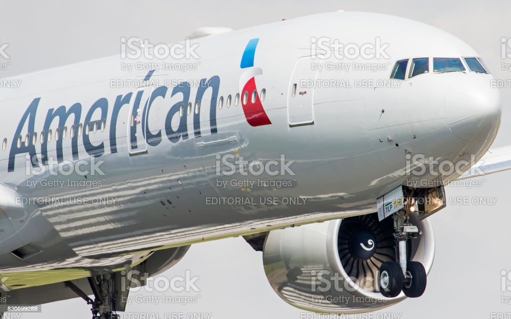 Boeing 777-300 of American AIrlines at GRU Airport - Guarulhos International Airport, Sao Paulo, Brazil - 2015 stock photo