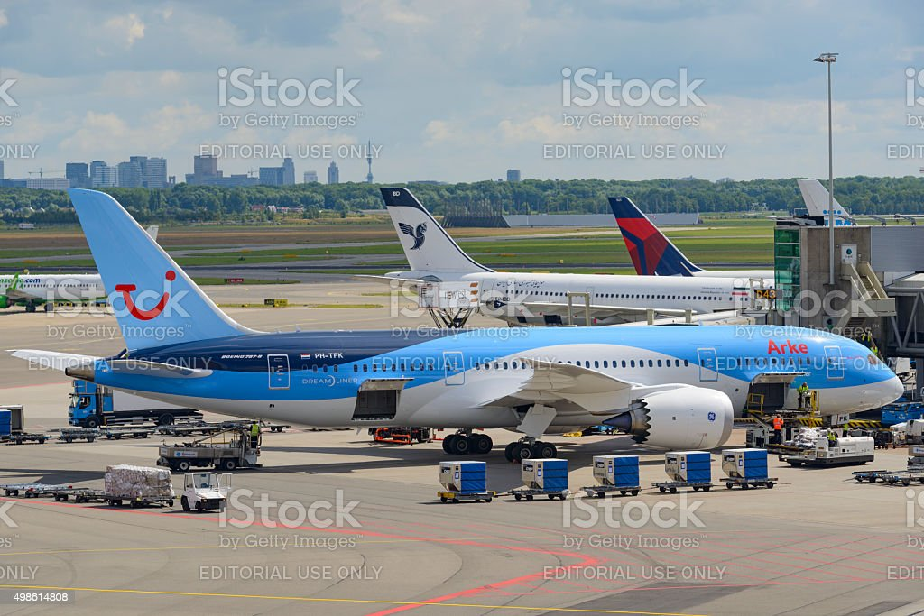 Boeing 787 Dreamliner airplane stock photo