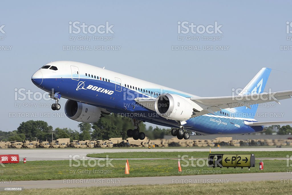 Boeing 787 Dreamliner during take-off stock photo