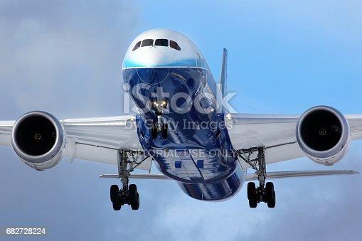 istock Boeing 787 Dreamliner N787BX landing at Vnukovo international airport during world tour. 682728224