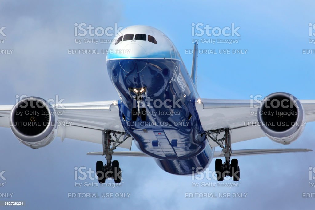 Boeing 787 Dreamliner N787BX landing at Vnukovo international airport during world tour. stock photo