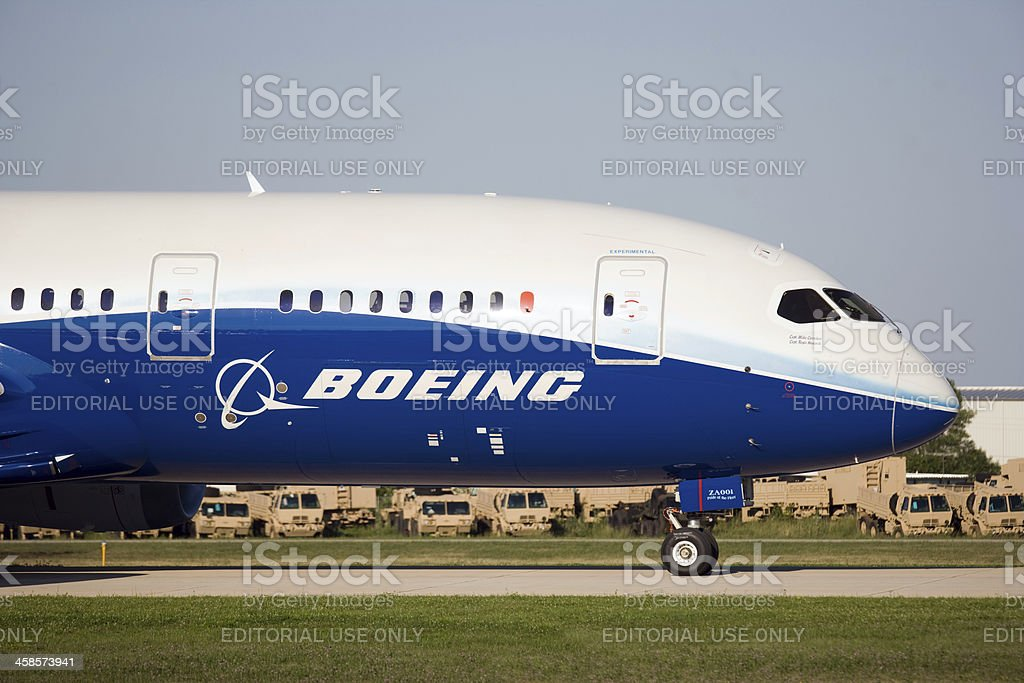 Boeing 787 Dreamliner Wittman Regional Airport, Oshkosh, Wisconsin, USA - July 29, 2011: Boeing 787 taxing to runway for takeoff at the Air-Venture airshow. Aerospace Industry Stock Photo