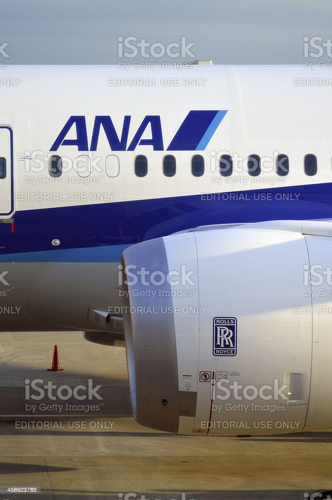 ANA Boeing 787 Rolls Royce Engine royalty-free stock photo