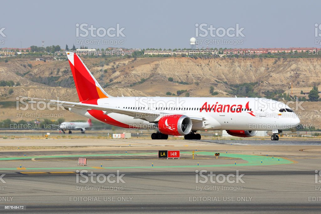 Boeing 787-8 Dreamliner of Avianca airlines taxiing at Madrid Barajas Adolfo Suarez airport.