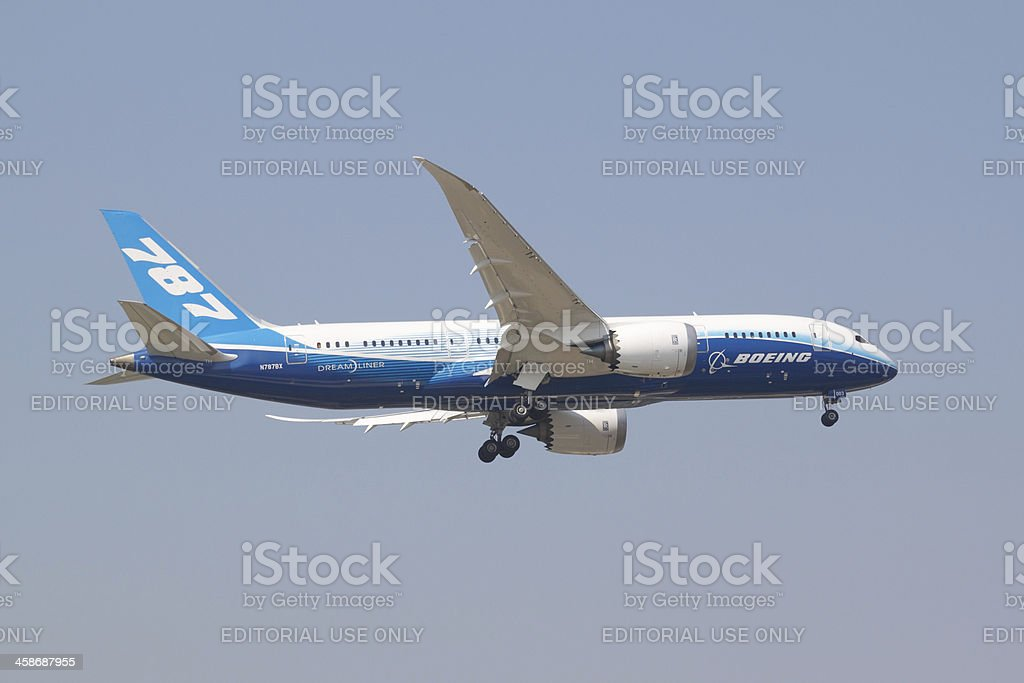 Boeing 787-8 Chiang Mai , Thailand - February 10, 2012 : Boeing 787-8 on the sky during approach to landing to Chiang Mai airport Air Vehicle Stock Photo