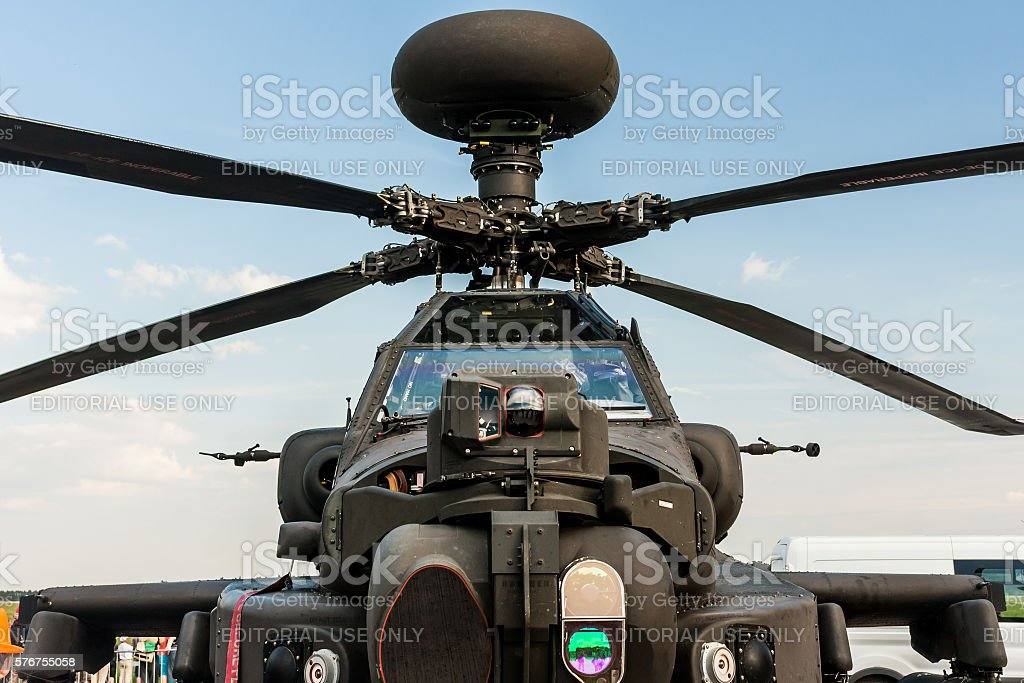 Boeing AH-64 Apache Longbow at Berlin Schoenefeld Airport. stock photo