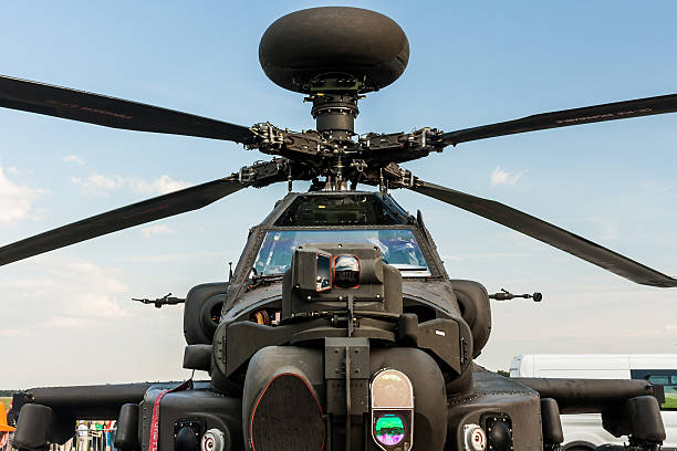 Boeing AH-64 Apache Longbow at Berlin Schoenefeld Airport. stock photo