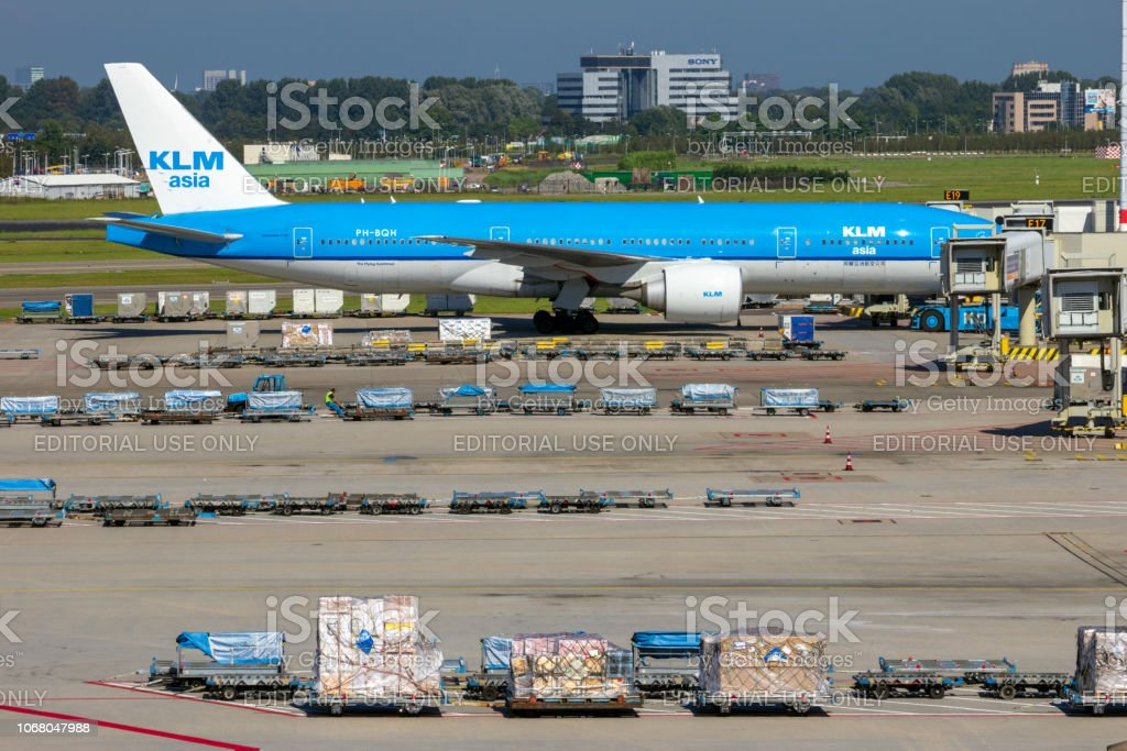 KLM Boeing air freight apron Schiphol stock photo