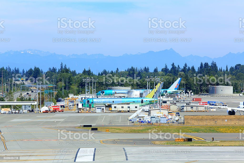 Boeing Assembled Airplanes stock photo