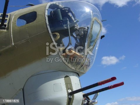 This is a picture of the nose and chin turret of a B 17G. This photograph of the fully restored vintage World War 2 bomber was taken at Worcester (MA) airport on 9/15/12