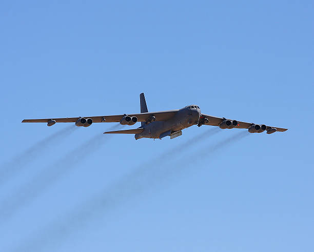 Boeing B-52 Stratofortress Boeing B-52 Stratofortress flying at the Edwards AFB open house with bomb bay doors open bomber plane stock pictures, royalty-free photos & images