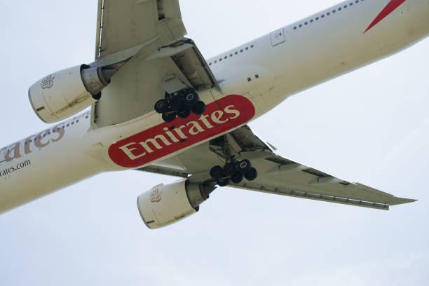 Boeing B777-31H(ER) Emirates A6-EGR closeup view stock photo