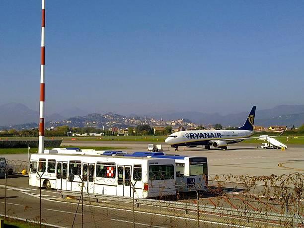 Boeing Bergamo airport stock photo