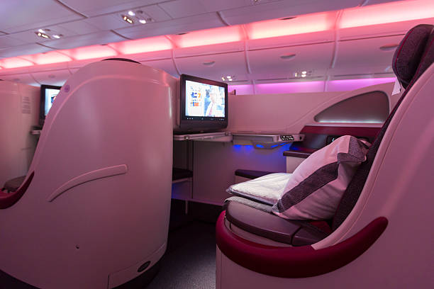 A380 Boeing Business Class plane interior stock photo