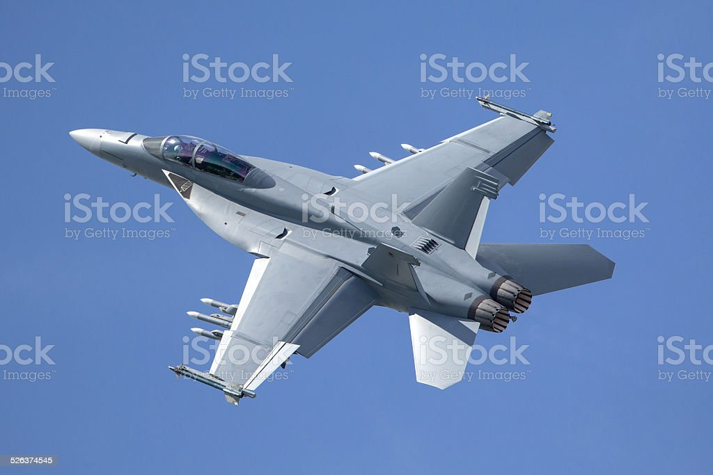 Boeing FA-18F Super Hornet Fighter Aircraft stock photo