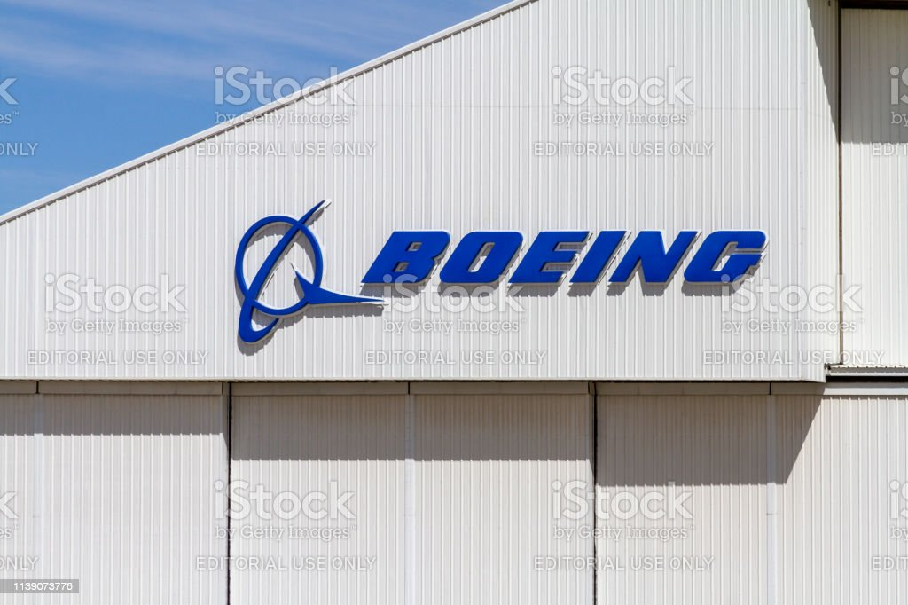 Boeing Logo on Building Victorville, CA / USA – March 27, 2017: The Boeing Company's logo on wall of a building at the Southern California Logistics Airport in Victorville, California. 2019 Stock Photo