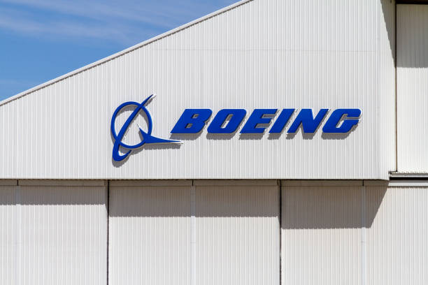 Boeing Logo on Building stock photo