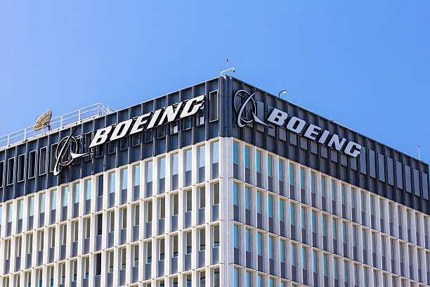 Boeing Manufacturing Facility and Logo stock photo