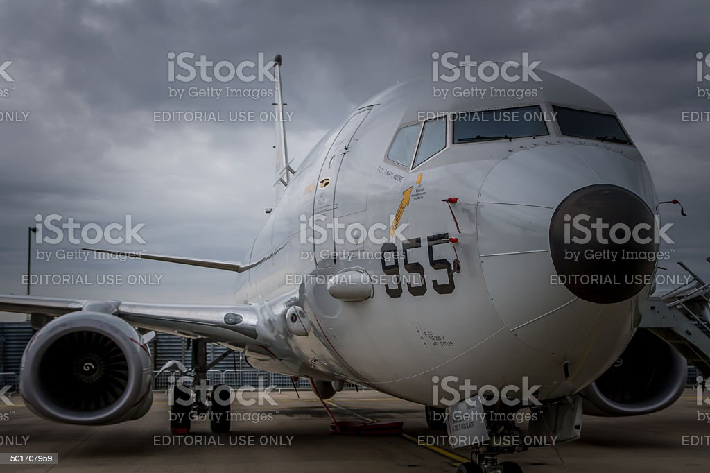 Boeing P-8 Poseidon maritime search aircraft stock photo