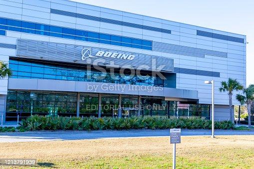 Charleston, South Carolina, USA - February 28, 2020: Boeing South Carolina sign on the building in North Charleston, USA.