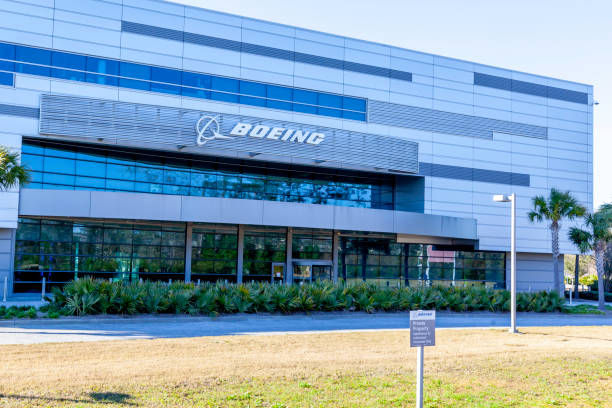 Boeing South Carolina sign on the building in North Charleston, USA. stock photo