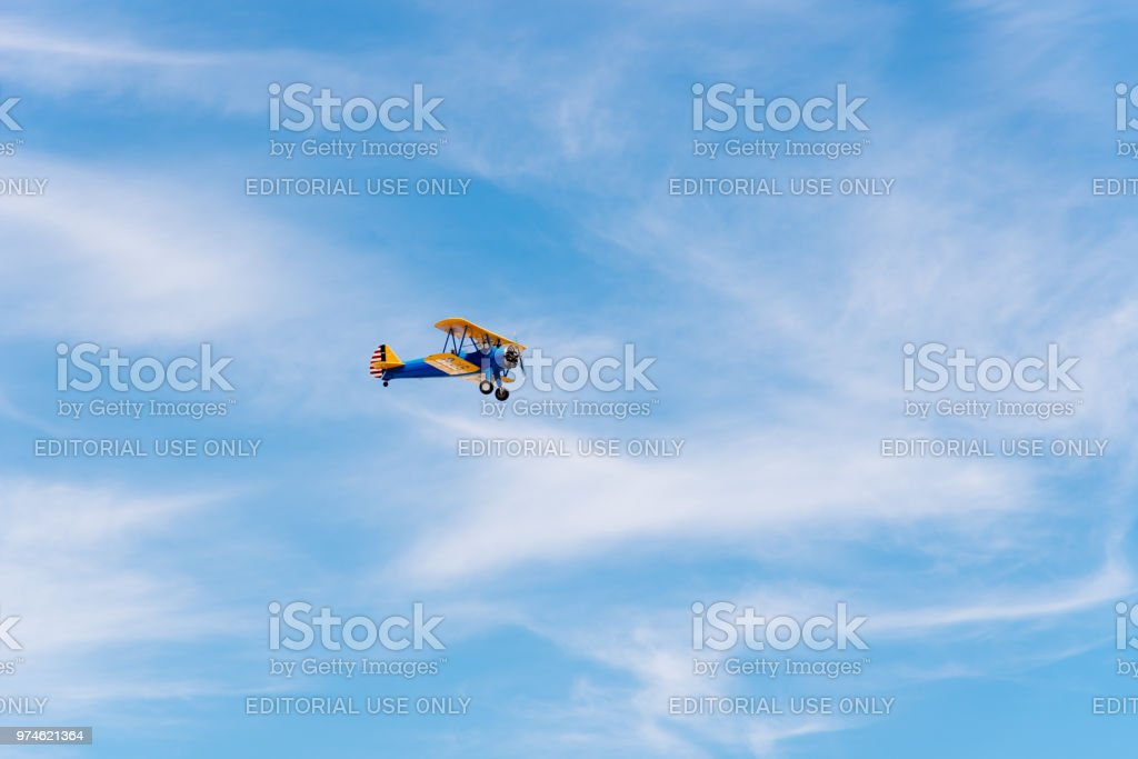 Boeing Stearman Kaydet aircraft during Air Show stock photo