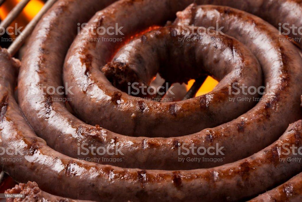 Boerewors on a braai (barbeque) stock photo