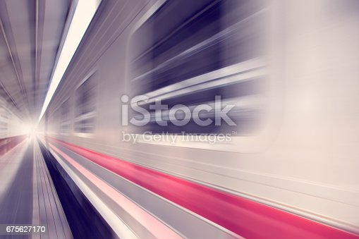 istock Bogies of Train Speed motion abstract background 675627170