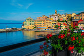istock Bogliasco resort with colorful buildings on the sea shore, Italy 1222526373
