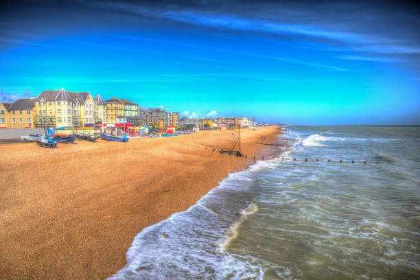 Bognor Regis beach West Sussex England in colourful hdr – zdjęcie