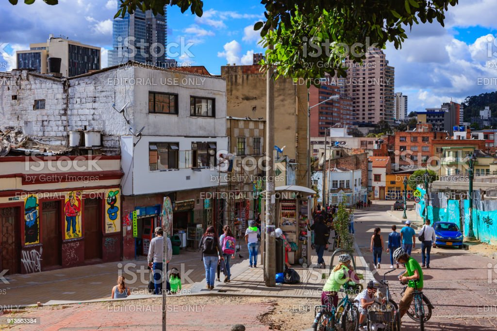 Bogotá, Colombia - Local Colombians In Historic La Candelaria District of The Andean Capital City stock photo