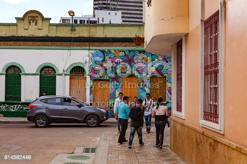 istock Bogotá, Colombia – People Walk Through The Colorful Streets Of The Historic La Candelaria District In The Capital City 914562446
