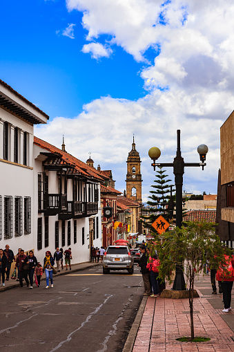 Bogotá Colombia - Spanish Colonial Architecture and Casa de Moneda on Calle 11 in the Historic La Candelaria District, in the Andean Capital City