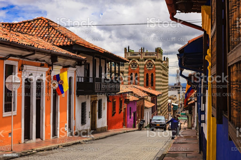 Bogotá Colombia - Spanish Colonial Architecture, Colourful Walls and Narrow Streets in the Historic La Candelaria in the Andean Capital City stock photo