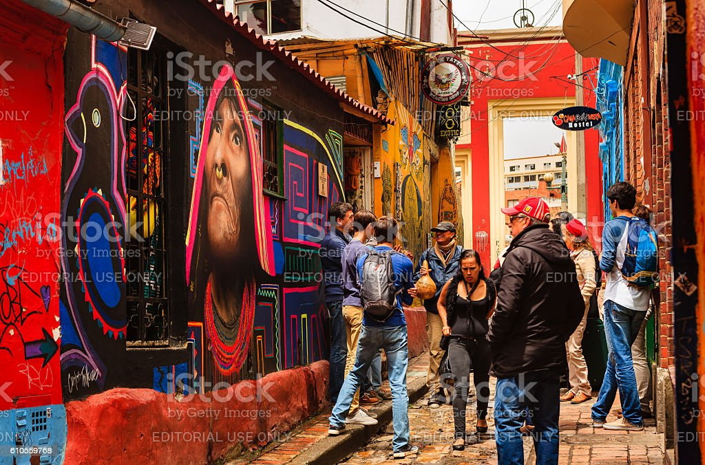 Bogotá Colombia Tourists Both Foreign And Colombian Walk