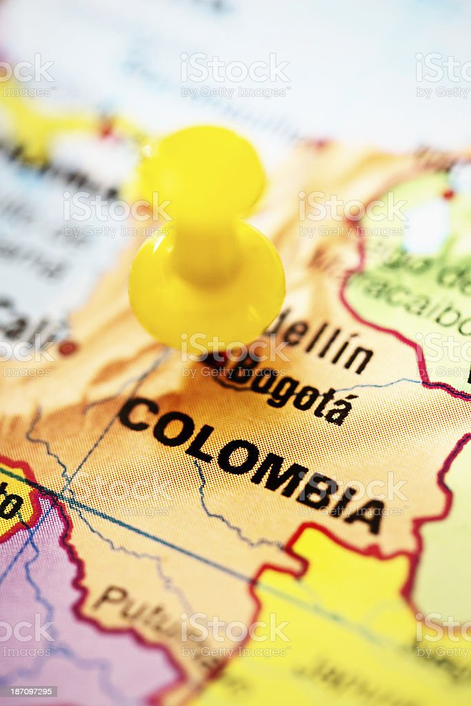 Bogota Capital Of Colombia Marked On Map With Yellow Pushpin Stock ...