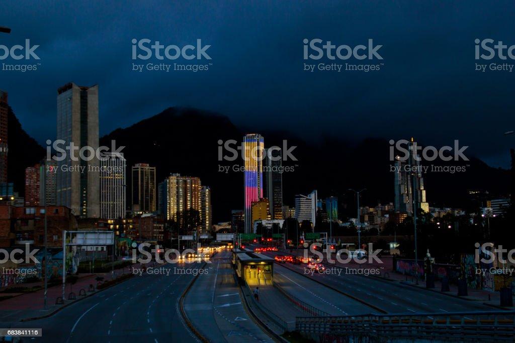 Bogota cityscape at night time stock photo